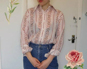Vintage 70s Floral Striped Shirt / Brown Orange Floral Shirt / Pointed Collar Shirt / Thin Buttoned Blouse / Retro Thrifted Shirt / Arty Top