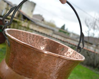 Large French Antique  Hammered Copper Cauldron