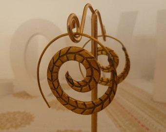 Brass  Spiral Earrings Geometric  Earrings Gypsy Earrings Tribal Earrings Ethnic Earrings Indian Earrings Statement Earrings