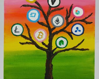 Crypto Painting 4 U - Crypto Currency Tree w/ Sunset Background
