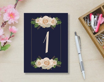 INSTANT DOWNLOAD - Table Numbers 1-5 Blue with White Roses