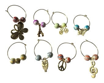 Wine Glass Charms- Set 8