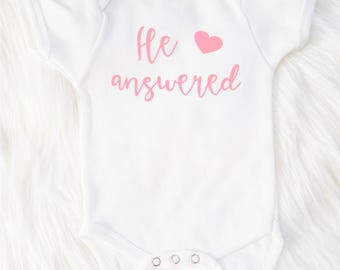 He answered, we prayed and he answered, for this child we have prayed, 1 Samuel 1:27, Christian bodysuit, Christian baby shower gift