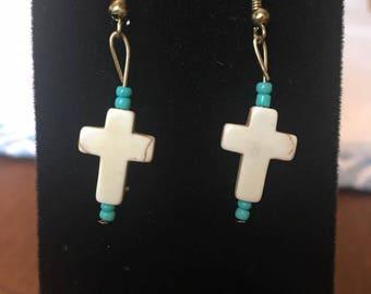 Turquoise, Ivory Cross Earrings