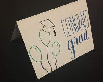Hand Drawn Congrats Grad Card