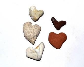 Small Heart Stones, Heart Shaped Rocks, Craft Stones, Beach Stones, Natural Sea Stones