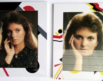 Photo Frames x two 1980's Funky Geometric Bold Metal Fun