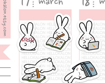 study lil character. cute kawaii stickers. decorative stickers. planner stickers. bullet journal stickers (c002)