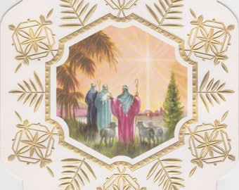 1960s vintage Christmas card featuring shepherds and star and unusual snowflake shape