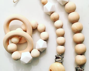 Wood With White Silicone Bead Set