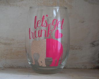Let's Get Trunk ELEPHANT Wine pun stemless glass, funny gifts, Personalized, Wine gifts