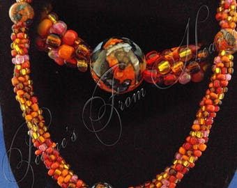 Kumihimo Rope Necklace with Vintage Orange Beads