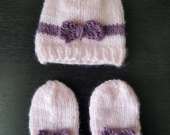 Baby Bow Hat and Mitten Set