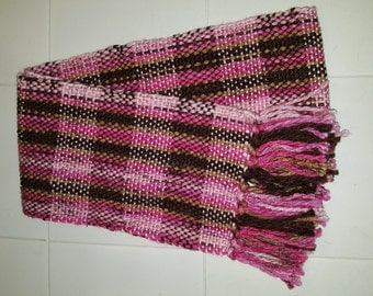 Plaid handwoven scarf in shade of pinks and browns, 6 1/5 inches X 57 inches
