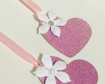 10 Handmade Glitter Heart Shaped Gift Tags With Choice of Embellishments