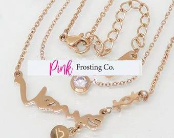 Libra/Venus - Rose Gold Layered Necklace with Cubic Zirconia
