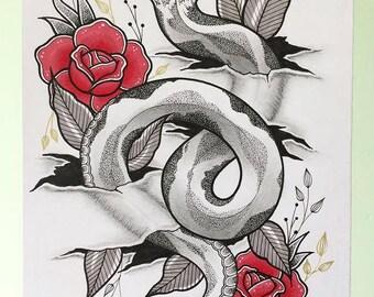 A5 Ripped Skin Snake Print