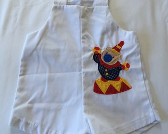 Vintage White Romper with Circus Bear