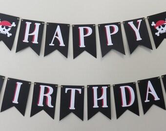 Pirate Birthday Banner Theme First Birthday Black Red White