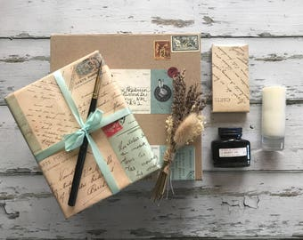 Writer's Kit: Gift Box with Leather Wrap Journal, Pen & Ink, Candle, Matches and Lavender Bundle; Gift Wrapped and Handwritten Note