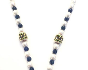 Pearl with blue onex beads and two side bead locket designed neck piece