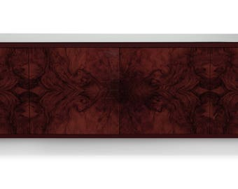 Floating Credenza - Laurel Burl wood with milk glass top
