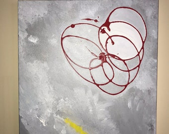 Red, Gray & Yellow Abstract Acrylic Home Decor Wall Art