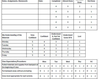 Teacher Planning - Weekly Self-Assessment Form for Students