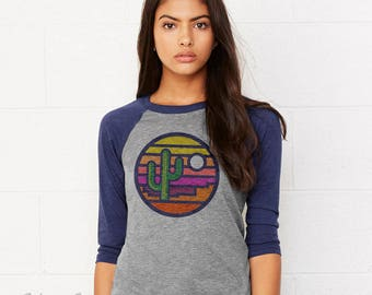 Stained Glass Sunset : Adult's Unisex Tri-Blend Raglan