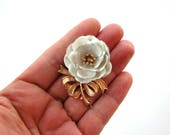 signed Trifari flower brooch pin . vintage white enamel rose brooch