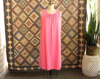 bubblegum pink nylon nightie, tent trapeze nightie by Lorraine . womens small medium 60s 70s nightgown