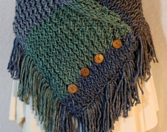 Blue Spruce Knitted Cowl with Fringe