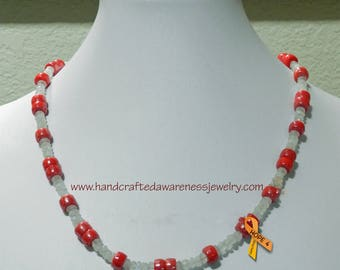 "Christmas Necklace, 19.5"" Necklace, Red Luster Bead, Moonstone, Red and White Beaded Necklace"