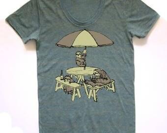 sloth picnic shirt, sloth t, pizza beer ice cream tshirt, sloth patio design, sloth party, free shipping