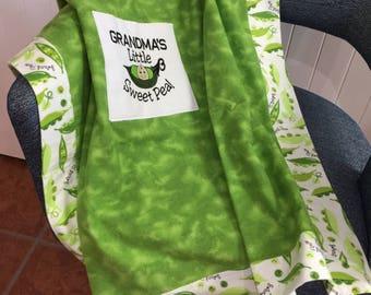 Sweet Pea Flannel Baby Blanket