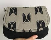 Small Saddle Bag - Gray Boston Terrier