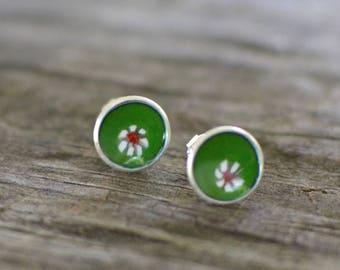 peppermint enameled mini stud earrings