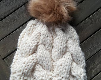 Chunky Knit Cable Hat with Pom Poms - Cream & Tan