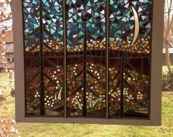 Three Trees- Glass on glass stained glass mosaic in repurposed window sash. Beautiful window hanging