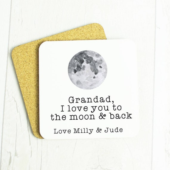 Personalised Grandad coaster, I love you to the moon & back, for an amazing Grandad, lovely Grandad gift