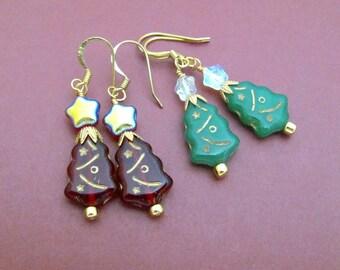 Christmas Tree Earrings Holiday Seasonal Jewelry Red or Green Czech Bead Glass Dangle Drop, Stocking Stuffer Gift Xmas Winter Woman Girl