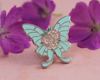Luna Moth Enamel Pin, Butterfly pin, Peony Flowers, Pastel, Teal, Art Nouveau