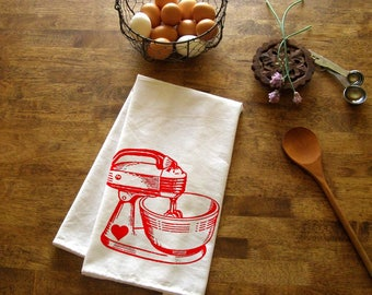 Baking Kitchen Towel Red Mixer Tea Towel CUTE Kitchen Towels Screen Print  Retro Indie Housewares Gifts