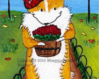 Autumn Mum Corgi Art Card Original Painting ACEO ~ Animal Art ~ Pembroke Welsh Corgi Art ~ Autumn Art ~ Dog Art ~ Nursery Decor ~