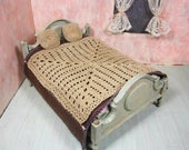 Miniature dollhouse afghan and two pillows, hand crochet dollhouse bedding, ready to ship