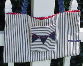 Ticking, denim and polka dot large tote red blue bunting pockets