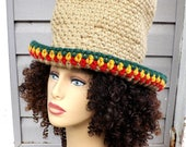 Rasta, Womens Hipster Hat Hipster Beanie Hat, Crochet Wide Brim Hat, Top Hat for Women, Light Taupe Beige Hat