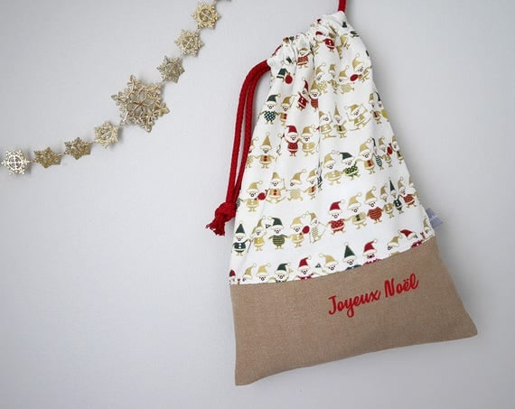 Customizable drawstring pouch - Christmas - Elves - Gold - White - Merry Christmas - Holidays - Wrapping gift - cuddly toy - slippers - toys