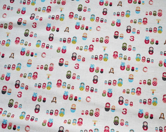 "50 cm (19,7"") fabric cotton Kokka - Trèfle - Matriochkas - Russian Dolls - Multicolor - Cotton and Linen (85 & 15 %) - 110cm width"