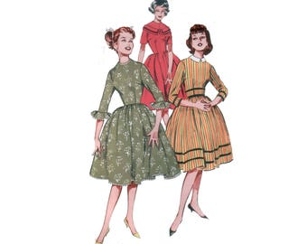 60s uncut Full Skirt Dress pattern vintage 34-26-36 Fit and Flare Dress Cocktail Dress Dirndl Skirt Dress pattern Butterick 9115
